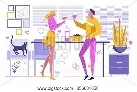 Couple Drinking Wine From Glasses At Home Flat Cartoon Vector Illustration. Family Evening Together.
