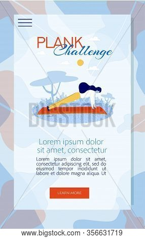 Mobile Flat Landing Page Offering Join To Plank Challenge. Cartoon Sporty Strong Woman Athlete Exerc