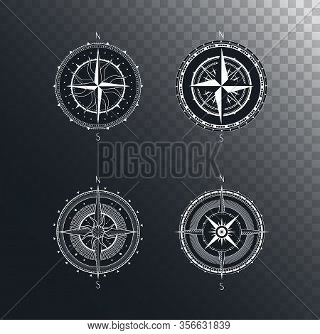Vector Set Of Vintage Compasses Or Marine Wind Roses. Collection In Line Art Style. Isolated On Dark