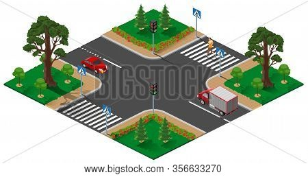 Street Road Intersection With Traffic Light. Pedestrian Man Crosses Zebra Road. Isolated On White Ve