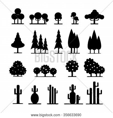 Tree Icon, Vector Icon. Green Leaf Tree Icon. Garden Tree Icon Various Tree Icons. Pine Tree Icon. C