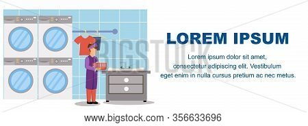 Laundry Business Banner. Professional Washing Clothes Service In Hotel. Cartoon Female Worker In Roo