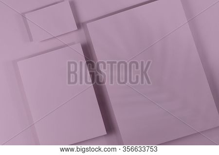 Mosk Up. Abstract Pink Paper Background. Three Cards Of Different Sizes On A Paper Background. Shado