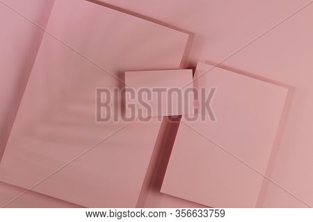 Mosk Up. Abstract Paper Pastel Color Background. Three Cards Of Different Sizes On A Paper Backgroun