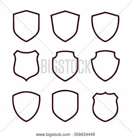 Simple Security Icon Set In Linear Style, Shield Linear Icon Set, Vector Simple Shield Icon Set, Fil