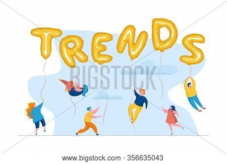 Сhasing Trends. Popular Content Searching. Conceptual Illustration Of Tiny People Hanging On Giant B