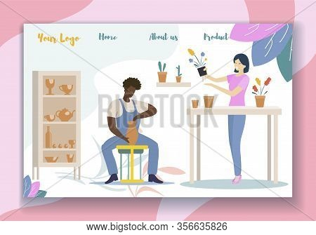 Man Modeling, Painting And Decorating Pot, Earthenware, Woman Gardening With Home Plants. People Enj