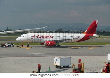 BOGOTA, COLOMBIA - CIRCA 2019: Airliner of Avianca at Bogota international airport. Airbus A320 airliner