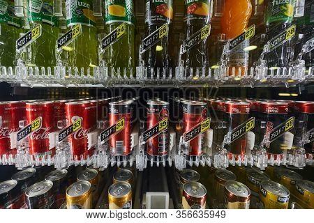 BUDAPEST, HUNGARY - CIRCA 2019: Vending machine selling drinks at a station, Energy drinks and others