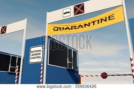 Closed Border Post for Crossing National Border. Countries Coronavirus Quarantine Concept. 3D Illustration.