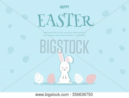 Happy Easter Illustration - White Rabbit Bunny on Blue Background. Happy Easter, bunny, easter background, easter design. Happy Easter, easter bunny, easter background, easter banners, easter flyer, easter design. Vector illustration.