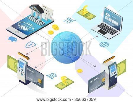 Flyer Internal Transfer Service To Bank Card. Banner Successful Development Internet Banking Securit