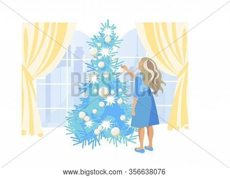 School Age Girl, Dressed In Blue Dress, With Long Blonde Hair, Decorating Christmas Tree With Lights