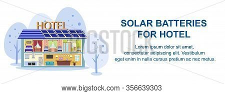 Solar Batteries For Hotel In Winter Banner. Sectional View Of Hotel Building In Snow Vector Illustra