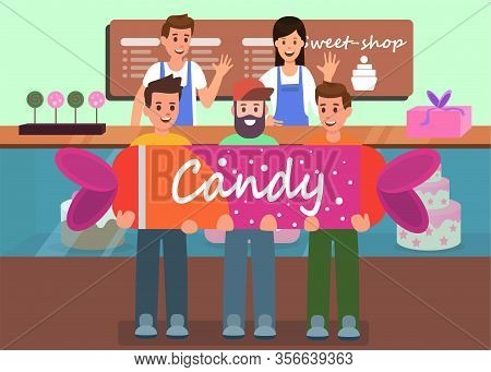 Sweet Shop Creative Advertising Flat Vector Banner Illustration Friendly Greeting Professional Baker