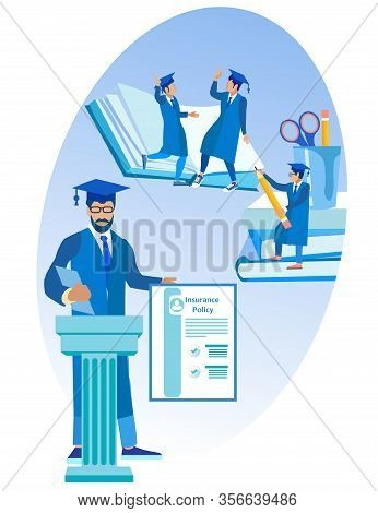 Students Team Rejoices In Successful Insurance Business. Insurance Policy. Vector Illustration. Reli