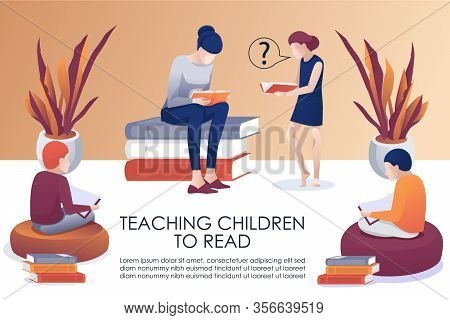 Teaching Children To Read Advertising Flat Poster. Cartoon People In Library Training In Reading. Wo