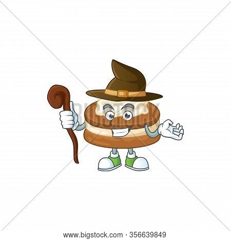 Sweet And Tricky Witch White Cream Alfajor Cartoon Character