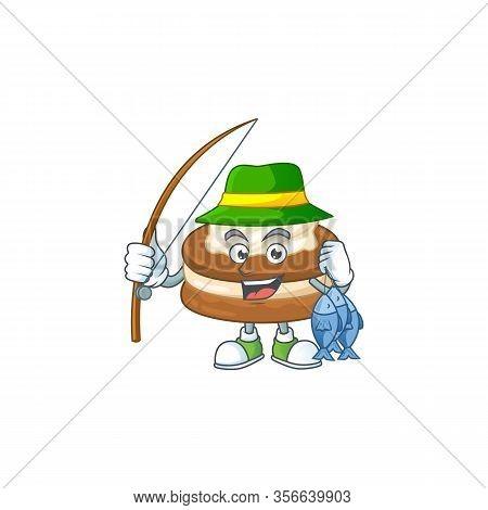 Cartoon Character Of Funny Fishing White Cream Alfajor