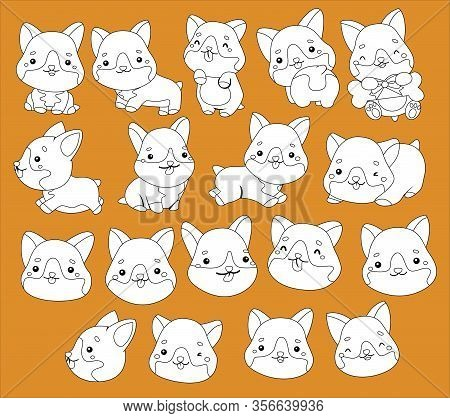 A Vector Of Corgies In Black And White