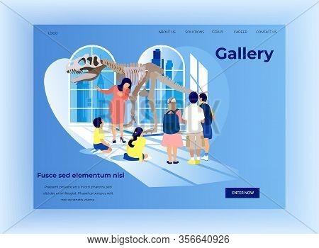 Guide Tells Children In Anthropology Museum. Exhibition Center. Vector Illustration. Blue Background