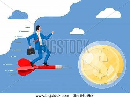 Businessman On Dart Aim In Soap Bubble With Golden Dollar Coin. Concept Of Economy Problem, Financia