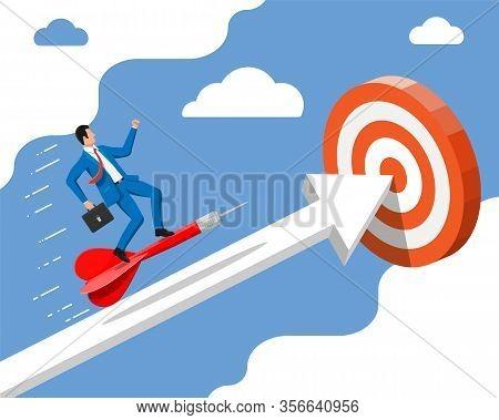 Businessman Aim Arrow To Target. Goal Setting. Smart Goal. Business Target. Achievement And Success.