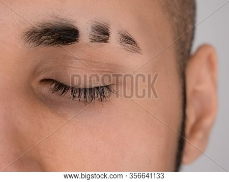 Eyebrow With Double Scars, Closed Eye With Natural Long Lashes, Eyebrow Slits