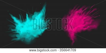 Holi Paint Powder Color Explosion Realistic Vector Illustration. Blue And Pink Dust Splash, Spring H