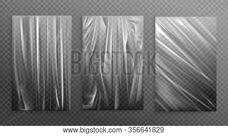 Stretched Cellophane Banner, Realistic Crumpled Or Folded Texture Vector Illustration. Clear Transpa