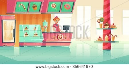 Bakery And Candy Shop Interior With Cashier Behind Bar Counter. Vector Cartoon Illustration Of Cafe