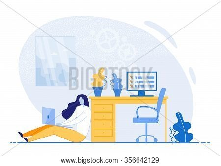 Bright Flyer Tips On Time Management Efficiency. Girl Sitting On Floor In Office And Working On Lapt