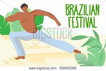 Man Goes In Sports On Beach. Brazilian Festival. Capueira Costume. Man In White Pants On Beach. Nati