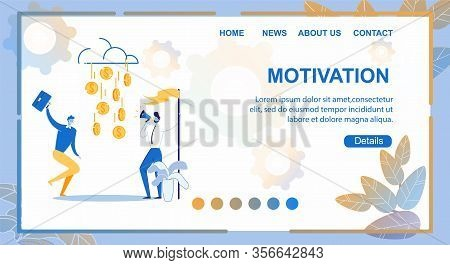 Flat Banner Motivation, Lettering Illustration. Male Managers Rejoice In Falling Gold Coins From Clo