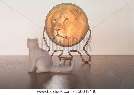 Kitten Looks In The Mirror And Sees Himself Reflected Like A Lion. Self-confidence Concept. Business