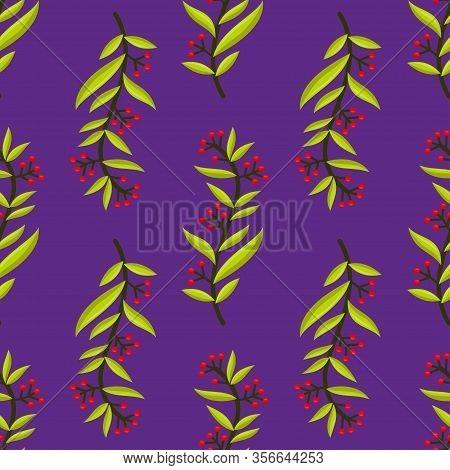 Vector Illustration Seamless Floral Leaf Pattern Background