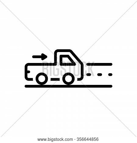 Black Line Icon Forgo Go-away Vehicle One-the-way Street Roadway Route Speed Truck