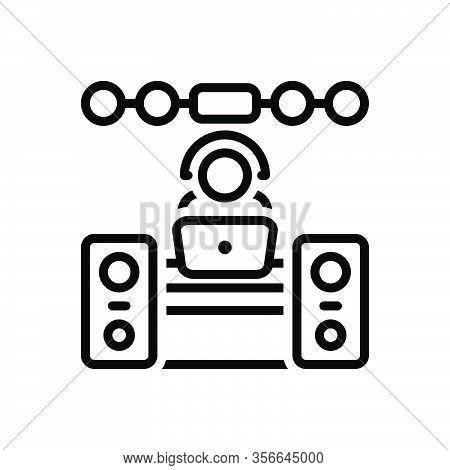 Black Line Icon For Operator Sound-system Music Dj Concert Manipulator Keeper Support People Helpdes