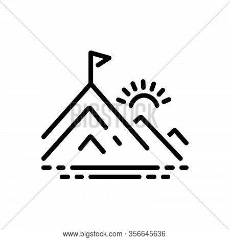 Black Line Icon For Peak Pinnacle Vertex Braid Hill Mountain Flag Achievement Goal Winner Motivation