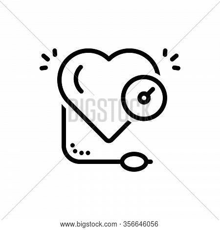 Black Line Icon For High Speedometer Heart Pressure Blood Machine Arterial Tonometer Cardiovascular