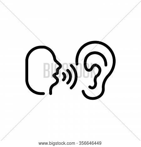 Black Line Icon For Whisper Murmur Mutter Mumble Speak-softly Buzz Secret Listen Ear Talk