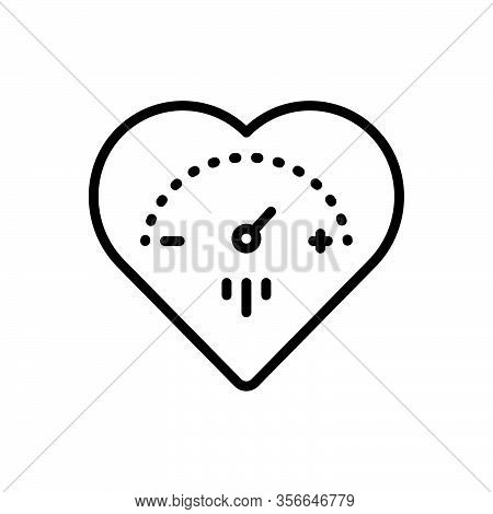 Black Line Icon For Highly Heart Pressure Machine Arterial Tonometer Cardiovascular Gauge Cardiology