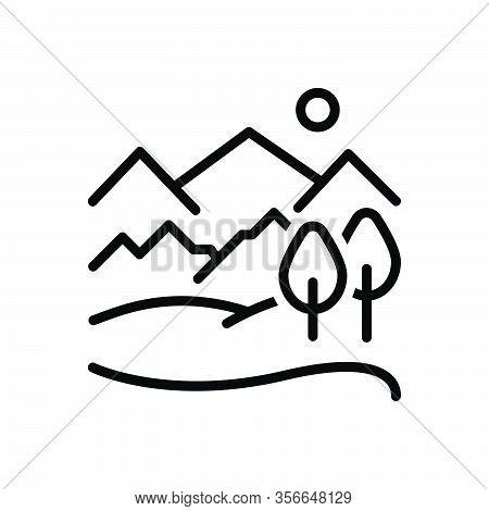 Black Line Icon For Hill Highlander Mound Meadow Landscape Peak Forest