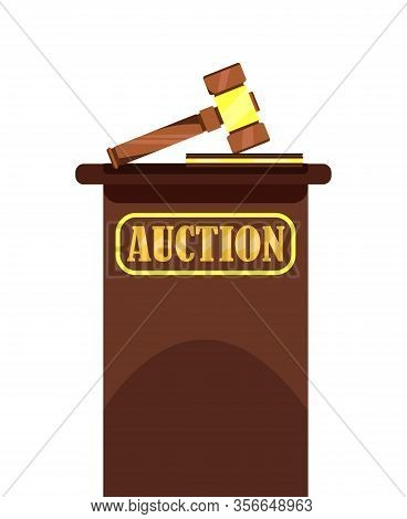 Auction Wooden Hammer And Stand Poster. Offering For Bid Vector Illustration. Auction House. Element