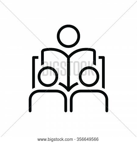Black Line Icon For Lesson Seminar Student Guidance Exercise Homework Instruction Lecture Teaching