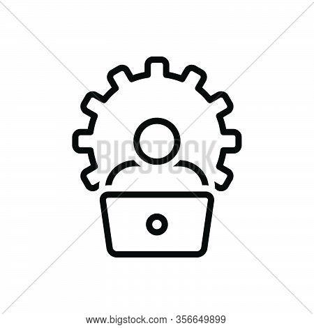 Black Line Icon For Administrator Laptop Cogwheel Boss Ceo Colleagues Controller Viceroy Executive B