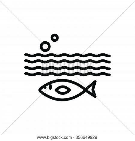 Black Line Icon For Below Aquarium Aquatic Underwater Beneath Under Underneath Environment Nature