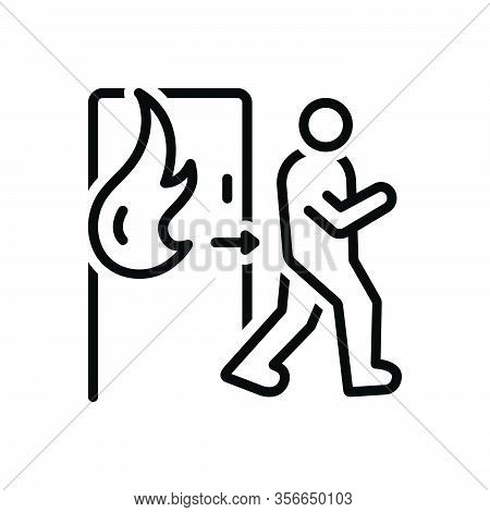 Black Line Icon For Emergency Exit Evacuation Safe Climacteric Exigency Fire Rescue Away Danger Burn