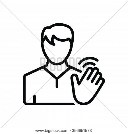 Black Line Icon For Hi Hello Bye-bye Person Hand Waving Friendly Palm Gesture