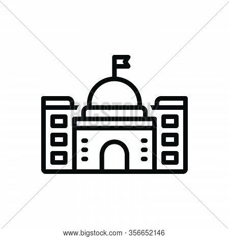 Black Line Icon For Department Section Compartment Partition Building Edifice Architecture
